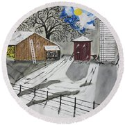 Round Beach Towel featuring the painting Here Comes The Sun by Jeffrey Koss