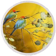 Here Comes The Sun - Rainbow Bee-eaters Round Beach Towel