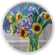 Here Comes The Sun- Sunflowers By The Window Round Beach Towel