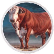 Hereford Bull Round Beach Towel