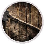 Nature Round Beach Towel featuring the photograph Wood Cutter by Aaron Berg