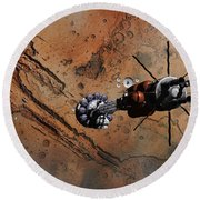 Hermes1 With The Mars Lander Ares1 In Sight Round Beach Towel