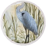 Heron And Cattails Round Beach Towel