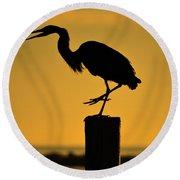 Heron At Sunrise Round Beach Towel