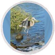 Heron Dance Round Beach Towel