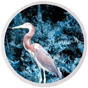 Heron In Blue Round Beach Towel