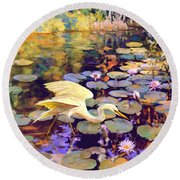 Round Beach Towel featuring the painting Heron In Lily Pond by David  Van Hulst