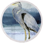 Heron On Blue  I Round Beach Towel