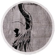 Heron On Burlap Round Beach Towel
