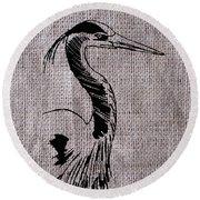 Heron On Burlap Round Beach Towel