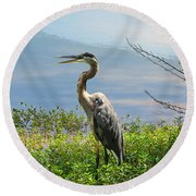 Heron On Lake Round Beach Towel