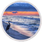 Heron On Mobile Beach Round Beach Towel