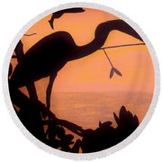 Round Beach Towel featuring the drawing Heron Sunset by D Hackett