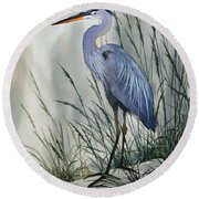 Herons Sheltered Retreat Round Beach Towel