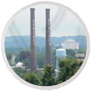 Round Beach Towel featuring the photograph Hershey Smoke Stacks by Michael Porchik