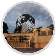 Round Beach Towel featuring the photograph He's Got The Whole World In His Hands by Kay Novy