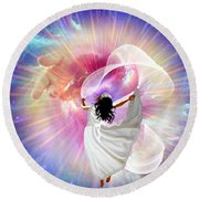 He's Here Round Beach Towel by Dolores Develde