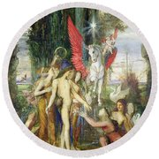 Hesiod And The Muses Round Beach Towel by Gustave Moreau