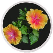 Round Beach Towel featuring the photograph Hibiscus Duo by Susan Wiedmann