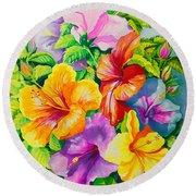Hibiscus Rainbow Array Round Beach Towel