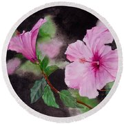 Round Beach Towel featuring the painting Hibiscus - So Pretty In Pink by Sher Nasser