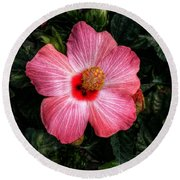 Hibiscus Sunset Round Beach Towel