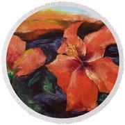 Hibiscus Volcano Round Beach Towel