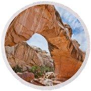 Hickman Bridge Natural Arch Round Beach Towel by Jeff Goulden