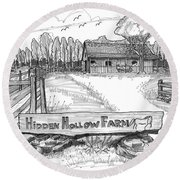 Hidden Hollow Farm 1 Round Beach Towel