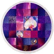 Hidden Orchids Squared Abstract Design Round Beach Towel by Irina Sztukowski