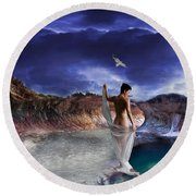 Round Beach Towel featuring the digital art Hidden River by Liane Wright