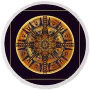 Round Beach Towel featuring the digital art Hieroglyph Moth Mandala 3 by Deborah Smith