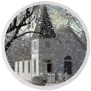 Higgensville Church Round Beach Towel by Liane Wright