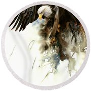 High And Mighty Round Beach Towel
