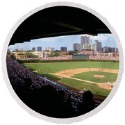 High Angle View Of A Baseball Stadium Round Beach Towel