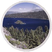High Angle View Of A Lake Round Beach Towel