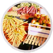 High Angle View Of Fruits Round Beach Towel