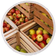 High Angle View Of Harvested Apples Round Beach Towel