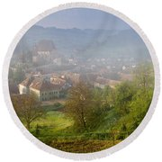 High Angle View Of Houses In A Village Round Beach Towel