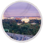 High Angle View Of Monuments, Potomac Round Beach Towel by Panoramic Images