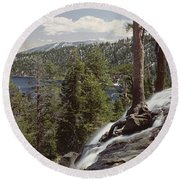 High Angle View Of The Eagle Falls Round Beach Towel