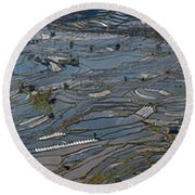 High Angle View Of Water Filled Rice Round Beach Towel