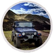 High Country Adventure Round Beach Towel