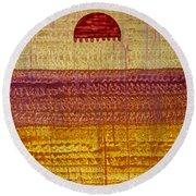 High Desert Horizon Original Painting Round Beach Towel