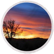 Round Beach Towel featuring the photograph High Desert Sunset by Kevin Desrosiers