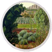 High Mountain Olive Trees  Round Beach Towel