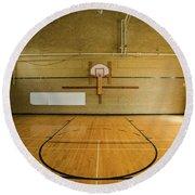 High School Basketball Court And Head Round Beach Towel