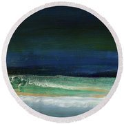 High Tide- Abstract Beachscape Painting Round Beach Towel