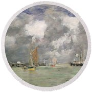 High Tide At Trouville Round Beach Towel