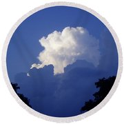 High Towering Clouds Round Beach Towel